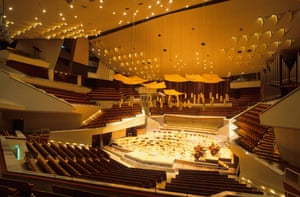 The striking 'vineyard' design of Berlin's Philharmonie, which has some of the best acoustics in Europe.