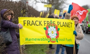Protesters last week at Cuadrilla's Preston New Road drilling site, Lancashire.