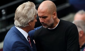 West Ham manager Manuel Pellegrini with Manchester City counterpart Pep Guardiola.