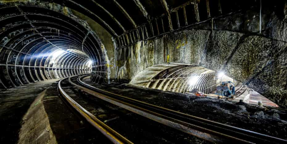 Rail tracks in the tunnels of the former Post Office London Underground Railway.
