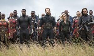 Danai Gurira, Chadwick Boseman, Chris Evans, Scarlet Johansson and Sebastian Stan in Avengers: Infinity War.