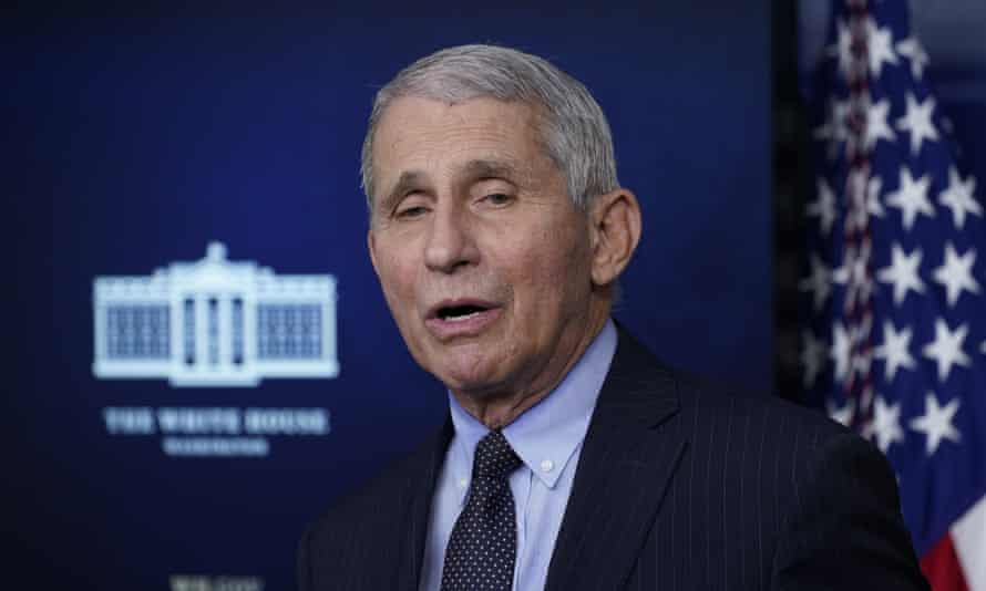 Anthony Fauci, who experienced technical difficulties during the virtual briefing, said coronavirus cases remained 'extraordinarily high'.