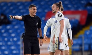 Leeds United's Luke Ayling appeals to referee Andre Marriner after he awards a penalty to Southampton.