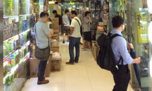 Browsing In's Point toys in Mong Kok, Hong Kong.