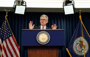 Federal Reserve Chairman Jerome Powell holds a news conference following a two-day Federal Open Market Committee meeting in Washington last night