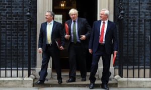 Liam Fox, Boris Johnson and David Davis outside No 10