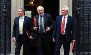 International Trade Secretary Liam Fox, Foreign Secretary Boris Johnson and Brexit Secretary David Davis leave 10 Downing Street, London