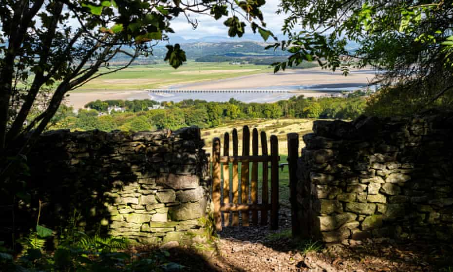 View from Arnside Knot towards Arnside viaduct and the Lake District beyond.