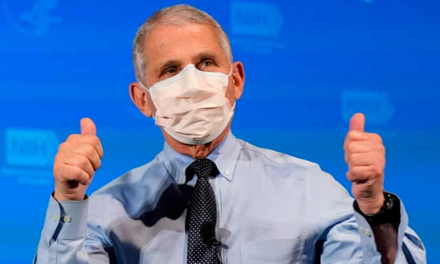Anthony Fauci after receiving his first dose of the Covid-19 vaccine