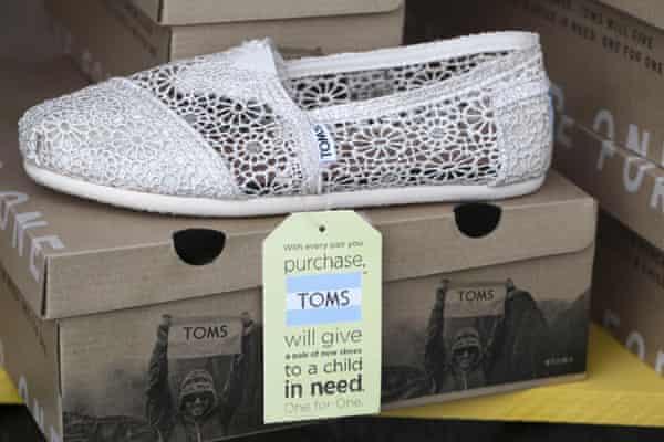 Toms footwear for sale in a shop in Wirksworth