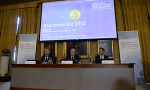 Goeran K Hansson, Permanent Secretary of the Royal Swedish Academy of Sciences, announcing Angus Deaton of Britain as the winner of the 2015 Nobel Economics Prize.