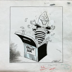 Les Gibbard's 1970 election cartoon, with Edward Heath's face belatedly stuck on.