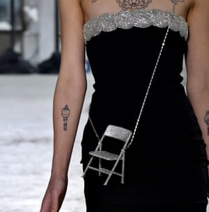 Chairs on chains accessories at Area's AW20 show