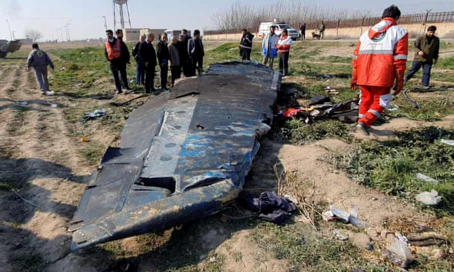 Debris from the Ukraine Airlines plane that crashed after take-off on the outskirts of Tehran on 8 January