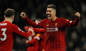 Roberto Firmino of Liverpool celebrates.