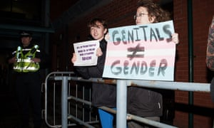 Transgender rights protesters in Cardiff