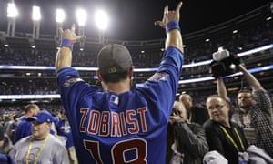 Ben Zobrist celebrates after helping the Cubs to victory
