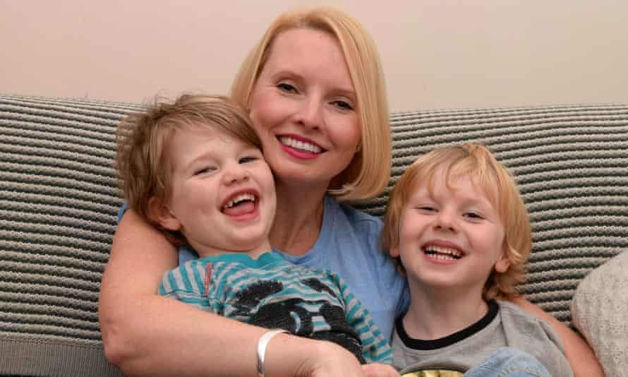 Katie Kirby, behind the Hurrah for Gin blog, with her two sons.
