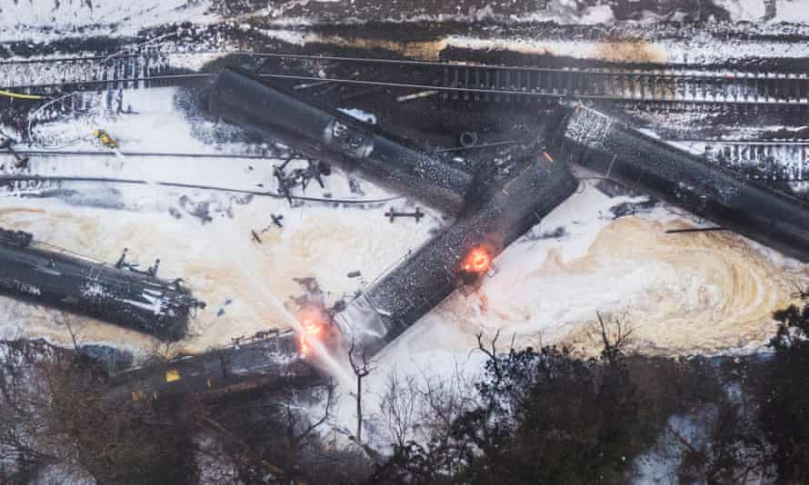 A train carrying crude oil burns after being derailed on 22 December 2020 in Custer, Washington.
