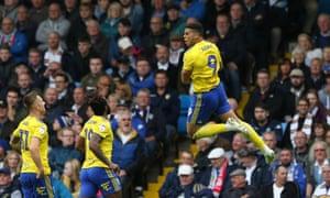 Birmingham City's Che Adams celebrates scoring his side's first goal at Elland Road.