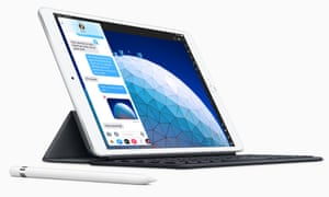 The new iPad Air with Apple's Smart Keyboard and Pencil accessories.