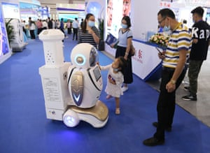 A disinfection robot at the China Beijing International High-Tech Expo