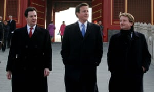George Osborne and David Cameron with James Chapman, who wants to launch a new centrist party called the Democrats.