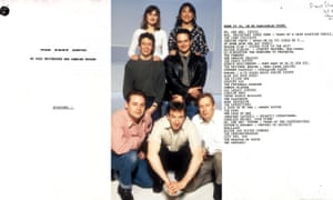 The cover page and draft running order from the Fast Show first pitch document and the season one cast of Caroline Aherne and Arabella Weir; Paul Whitehouse and Charlie Higson; John Thomson, Simon Day and Mark Williams.