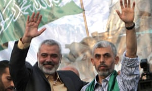 Yahya Sinwar (right) with then Hamas leader Ismail Haniyeh in 2011 after his release in the Gilad Shalit prisoner swap.