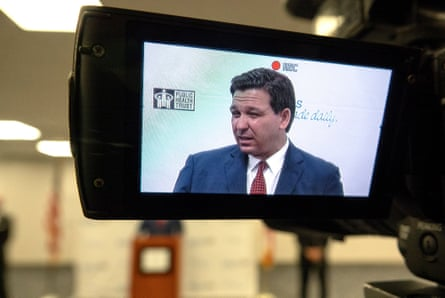 Ron DeSantis at a news conference in Miami at the weekend.