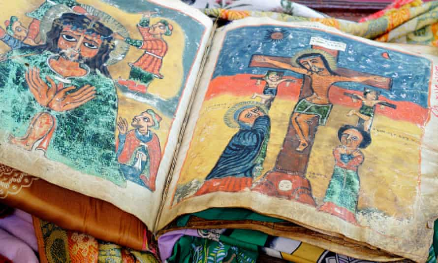 The sacred Book of Miracles in the Church of Our Lady of Zion in Aksum, Ethiopia - experts fear sacred texts, Bibles and treasures are being looted amid fighting in the Tigray region.
