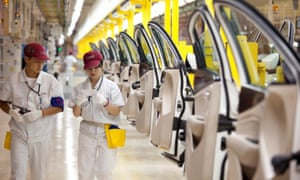 Employees at the Fiat SpA and Guangzhou Automobile Group Co manufacturing plant  in Changsha