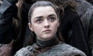 Maisie Williams on set as Arya Stark in series eight of Game of Thrones