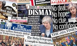 Front pages of the UK papers on Wednesday, 16 January, 2019 after Theresa May loses a crucial vote on a Brexit deal.