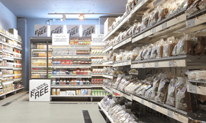 The plastic-free aisle at Ekoplaza supermarket in Amsterdam. The food is wrapped in a compostable biomaterial made from trees and leaves.