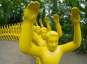 Yellow sculpture called You're My Chair, I'm Yours by Shigeo Fukada at Sapporo Art Park in Hokkaido Japan