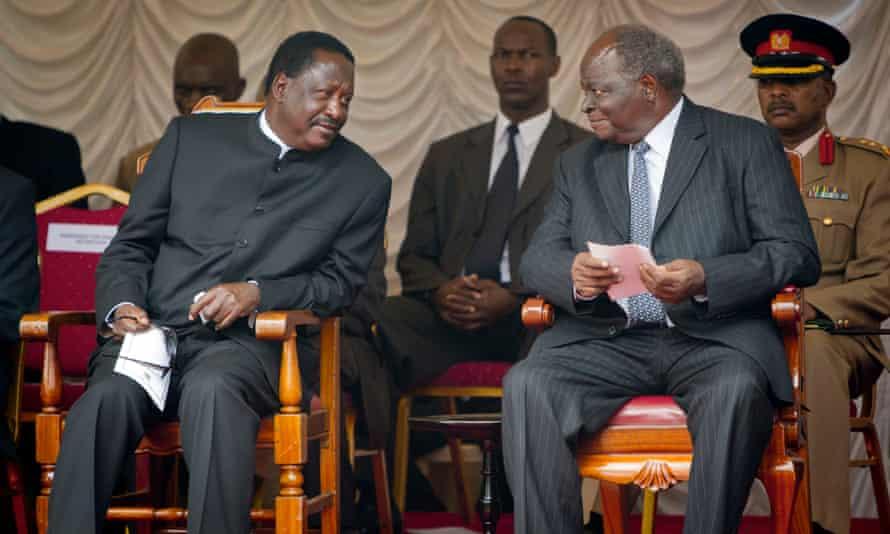 Raila Odinga, left, and Mwai Kibaki, right, photographed in 2011.