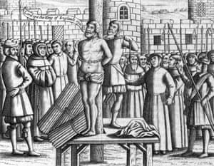 William Tyndale (1494-1536) being tied to a stake before being strangled and burnt to death