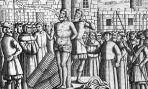 English translator of the Bible, William Tyndale being tied to a stake before being strangled and burnt to death, 1536.