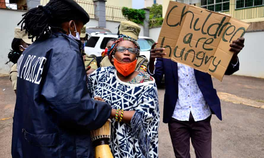 Stella Nyanzi protesting against the way food relief was distributed during lockdown in Kampala in May.