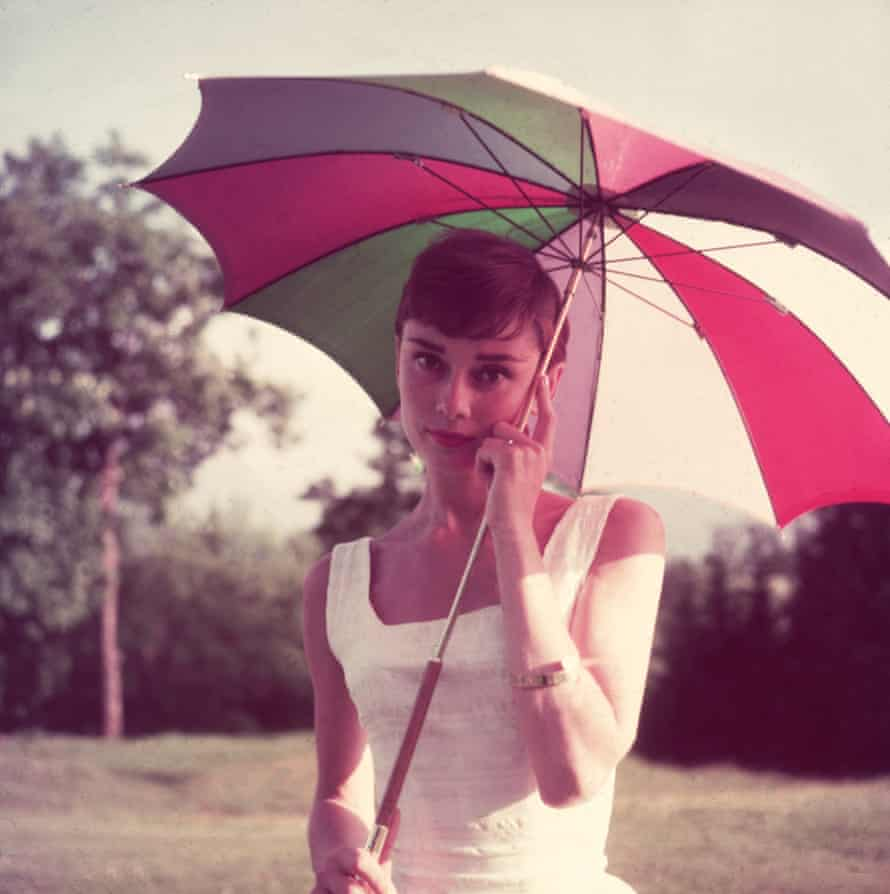 Familiar face... Audrey Hepburn strikes a classic pose in 1955.