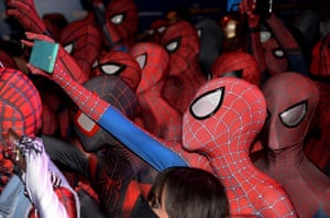 Singapore Fans dressed in Spider-Man outfits