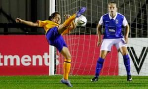 Maéva Clemaron has a shot at goal during Everton's FA Cup semi-final against Birmingham