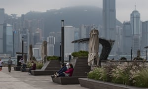The Avenue of Stars at Victoria Harbour waterfront in Hong Kong during the lockdown.