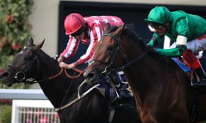 Baghdad ridden by Ryan Moore, left, holds off Ben Vrackie and Franki Dettori in the Duke of Edinburgh Stakes at Royal Ascot.