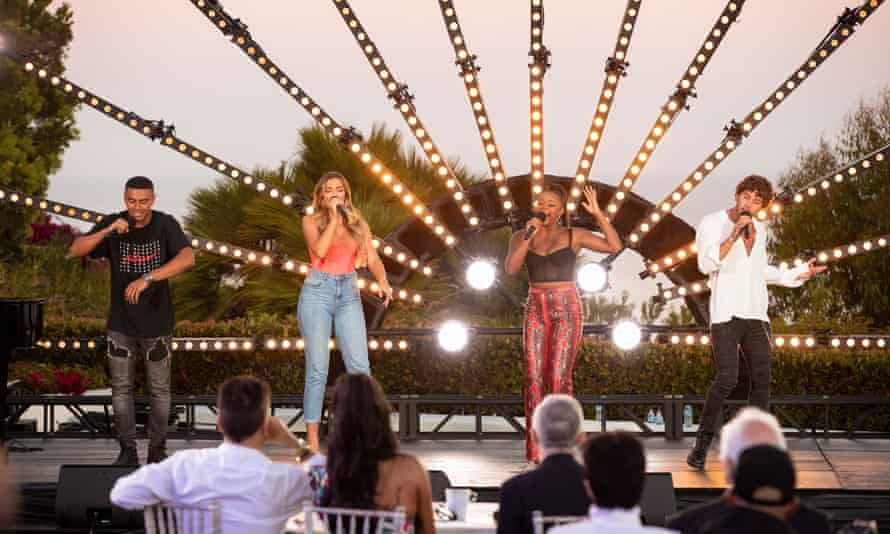 Essentially a garden party at Simon Cowell's house ... the Love Island supergroup perform on The X Factor: Celebrity.