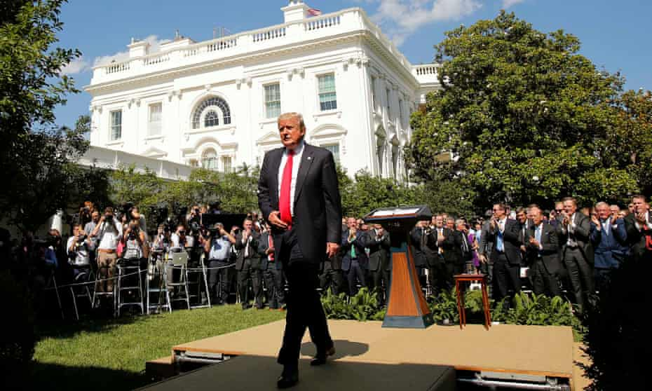 Trump after announcing the US would withdraw from the Paris Climate Agreement at the White House in DC in June 2017.
