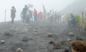 Rocks lay in the summit access road near one of many blockades stopping Thirty Meter Telescope construction vehicles from driving up to the summit of Mauna Kea, about 40 miles west of Hilo, Hawaii, on Wednesday.
