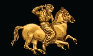 A gold plaque depicting a Scythian rider with a spear in his right hand