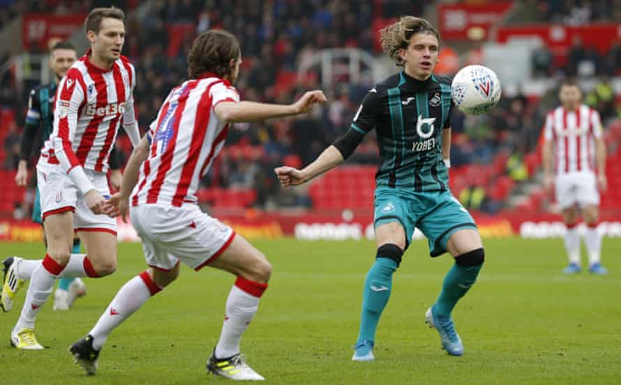 Conor Gallagher, in action for Swansea against Stoke, says: 'You have to play every game like it's your last.'